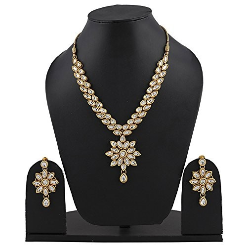 Shining Diva Jewelry Gold Plated Kundan Fancy Party Wear Necklace for Women Traditional Jewellery Set with Earrings for Women & Girls(White)(9602s)