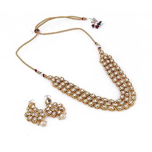 Andaaz Gold Plated Party Wear Kundan Traditional Jewellery Necklace Set with Earrings for Women & Girls