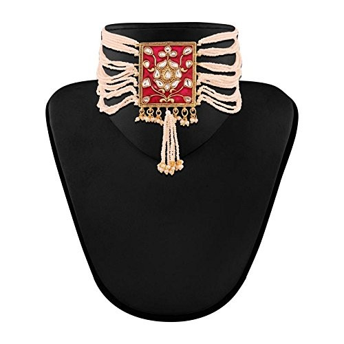 I Jewels Pearl & Kundan Necklace Choker with Earrings Padmavati Style for Women (ML118Q)