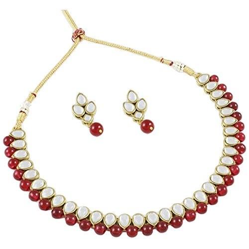 Shining Diva Red Kundan Necklace Set With Earrings For Women(rrsd7829s)