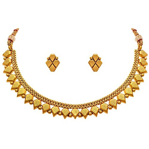f1a75883b1bd90 ... Meenaz Jewellery Traditional One gram Wedding Bridal Sarees Kundan  Pearl party wear Gold plated Pendant Necklace ...