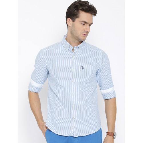 U.S. Polo Assn. White & Blue Striped Tailored Casual Shirt