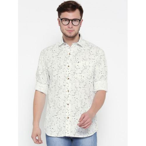 f096c77228d Buy John Players Men White & Grey Printed Casual Shirt online ...