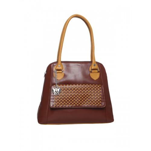 Butterflies Brown Pu Handbag