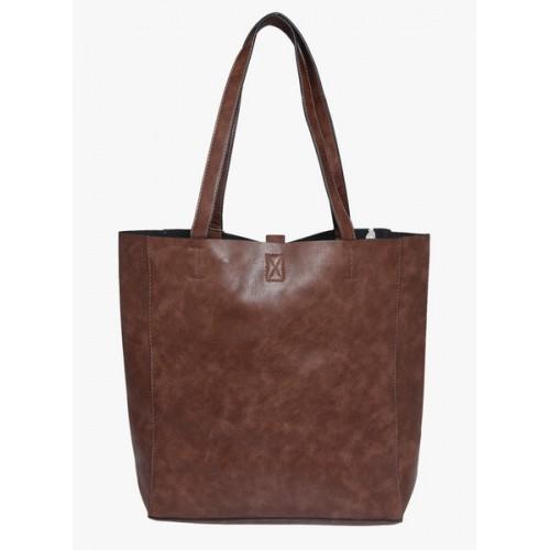 Fur Jaden Brown Polyurethane (Pu) Tote Bag
