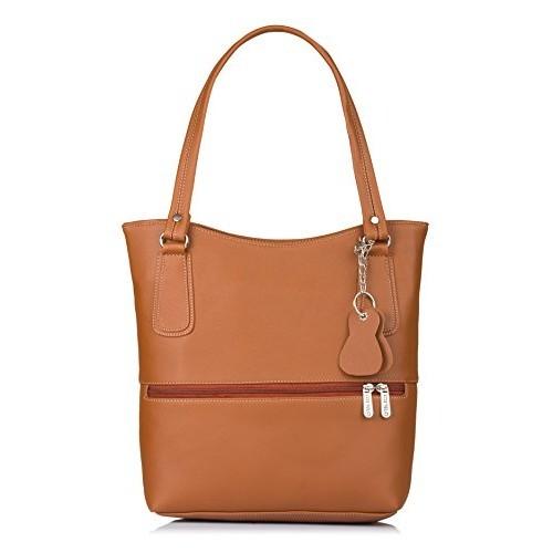 Fostelo Brown Solid Polyurethane Stacy Handbag