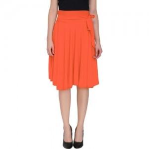 Dolce Divaa Denim Solid Women Gathered Orange Skirt