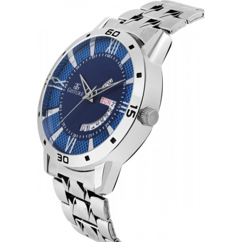 Gesture 1203- Blue Day And Date Chain Watch  - For Men
