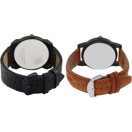 LOREM VL32-LR01 Stylish Designer Boys Leather Combo Watch  - For Men