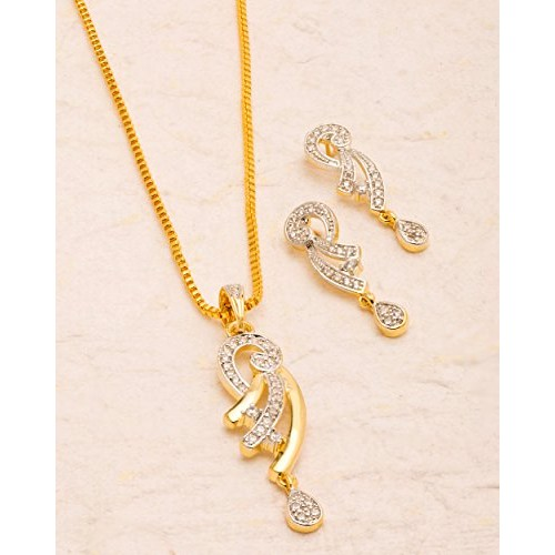 17c8f6ed56c41 ... Voylla Traditional Brass With Yellow Gold Plated Cubic Zirconia Pendant  Sets For Women ...