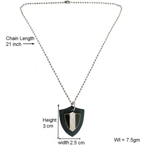Menjewell Leather Collection Black Gun Triangle Fashion Accessories Design For Men & boys Leather Pendant