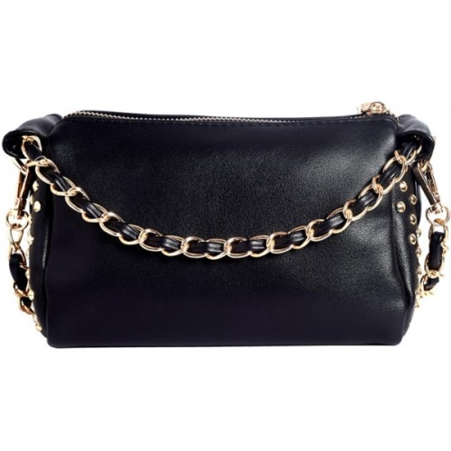 Lino Perros Women Black Leatherette Sling Bag