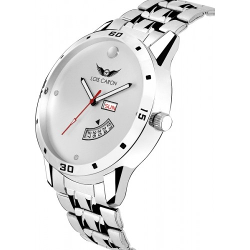 Lois Caron LCS-8059 WHITE DIAL DAY & DATE FUNCTIONING Watch  - For Men