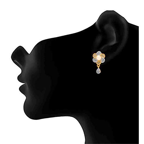 JFL - Stylish Ethnic One Gram Gold Plated Cz American Diamond Designer Pendant Set for Women & Girls.