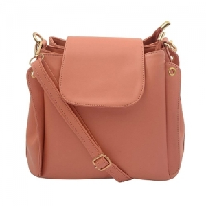 Lychee Bags Peach Faux Leather Stylish Lara Sling Bag