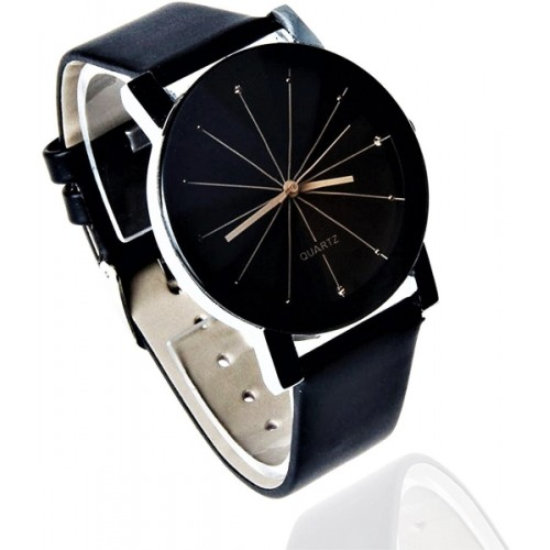 NUBELA Black Leather Dail Analog Watch