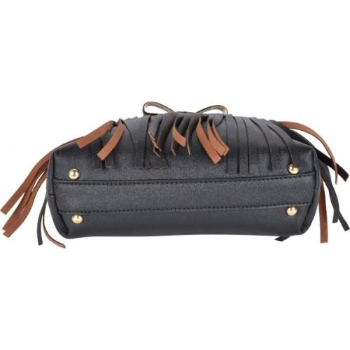 Kleio Designer Metal Bow Fringe Sling Bag