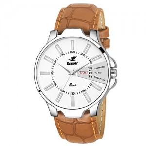 Espoir ES133 Brown Leather Analog Dial Watch