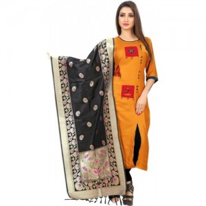 Spangel Enterprise Yellow & Black Jacquard Salwar Suit