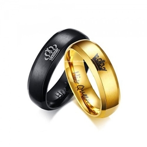 Yellow Chimes Titanium Stainless Steel Couple Bracelet Rings
