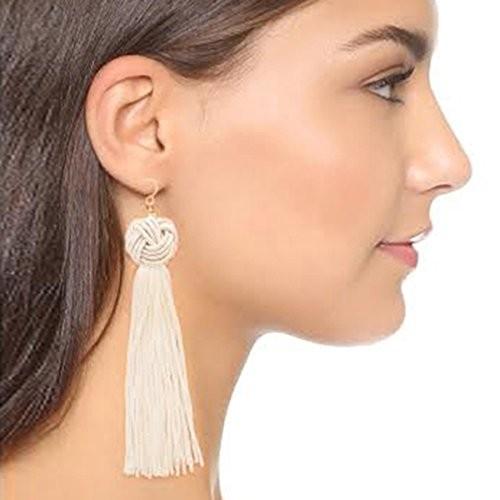 Sansar India Knotted Extra Long Fringe Tassel Shoulder Duster Statement Earrings