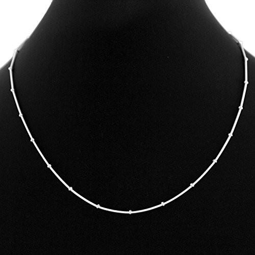 Eloish Sterling Silver Sleek Chain. Pure 925 Silk Ball Thin Silver Chain