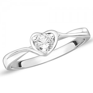 Peora Twist of Fate CZ 925 Sterling Silver Rhodium Finish Ring