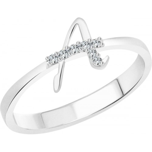 Vighnaharta initial ''A'' Alphabet Alloy Cubic Zirconia 18K White Gold Plated Ring