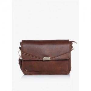 Lino Perros Brown Polyurethane (Pu) Sling Bag