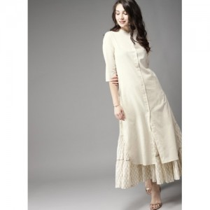 Moda Rapido Off-White Solid Straight Kurta