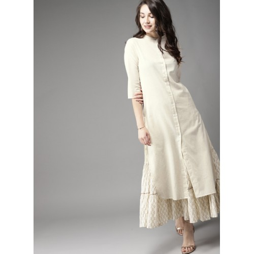 Moda Rapido Off-White Solid Straight Kurta