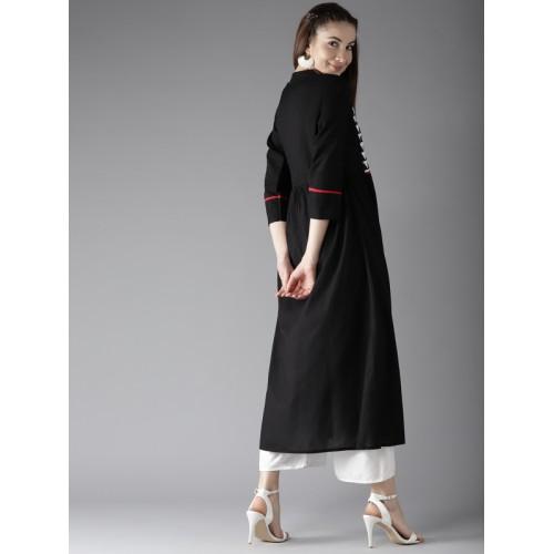 Moda Rapido Women Black Yoke Design A-Line Kurta