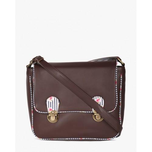 Kanvas Katha Women's Sling Bag (Dark Brown) (KKDBS005)