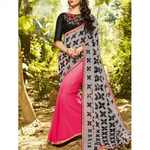 Shaily Grey & Pink Printed Pure Georgette Saree