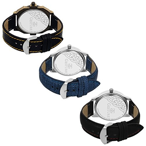Gesture Analogue Multicolor Dial Men's Combo Of 3 Watch - 7900