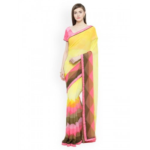 63ae7539301 Buy Shaily Yellow   Pink Pure Georgette Printed Saree online ...