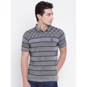 Monte Carlo Grey Striped Regular Fit Polo T-Shirt