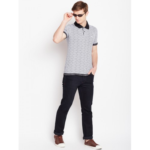 Monte Carlo Grey Textured Regular Fit Reversible Polo T-Shirt