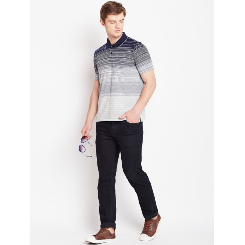 Monte Carlo Grey Striped Regular Fit Polo T-Shirt