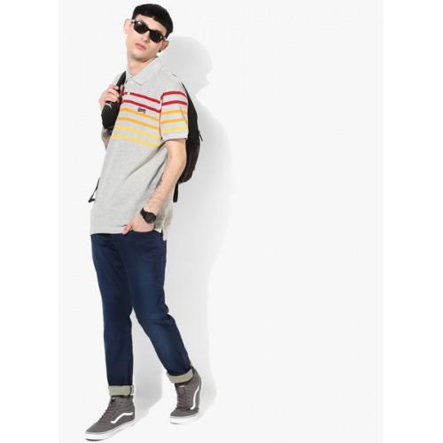 Aeropostale Grey Striped Regular Fit Polo T-Shirt