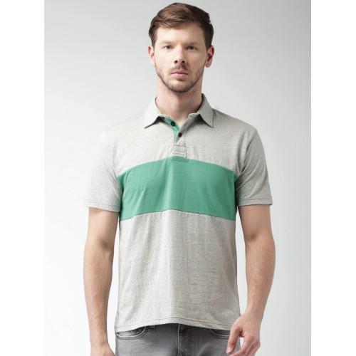 Aeropostale Grey Textured Regular Fit Polo T-Shirt