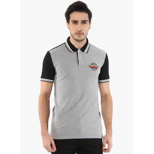 Celio Grey Solid Polo T-Shirt