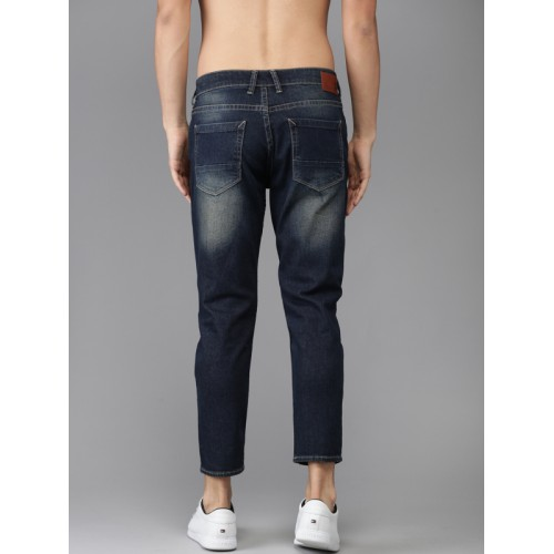 HERE&NOW Men Blue Tapered Fit Ankle Length Mid-Rise Clean Look Stretchable Jeans