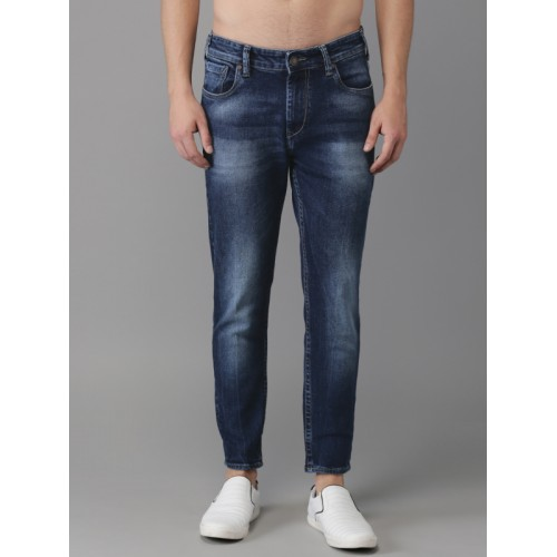 HERE&NOW Men Blue Ankle Slim Tapered Fit Mid-Rise Clean Look Stretchable Jeans