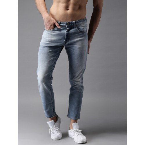 HERE&NOW Men Blue Skinny Fit Ankle Length Mid-Rise Clean Look Stretchable Jeans