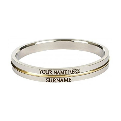 The Amritsar Store CUSTOMIZED Mens Kada (Stainless Steel with thin Brass Line),HEAVY, 10 MM Thick