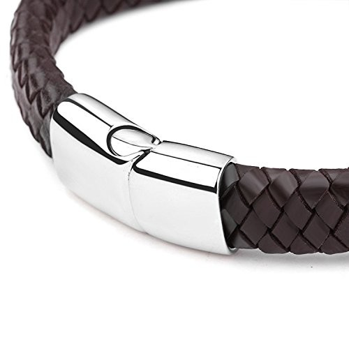 High quality Braided Leather Bracelets for Mens Boys Bracelets Fashion Stainless Steel Magnetic Clasp 7.5-8.5 Inch
