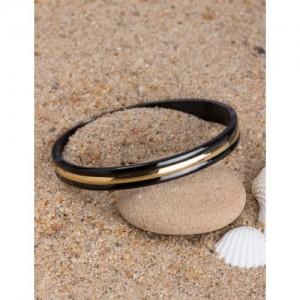 Dare by Voylla Black Stainless Steel Bangle-Style Bracelet