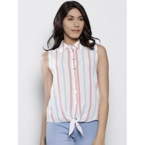 DOROTHY PERKINS Women White & Red Regular Fit Striped Casual Shirt