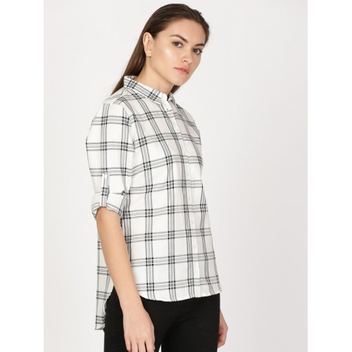 Buy ether Women Off-White   Black Checked High-Low Hem Shirt online ... 590865aa7